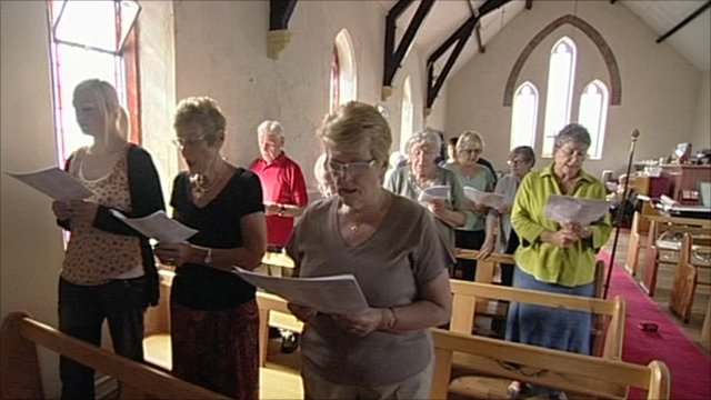 Congregation at All Saints Church in Mardy in the Rhondda Valley