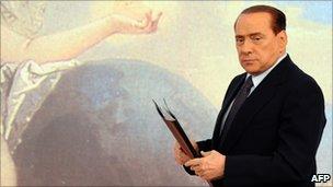 Italian Prime Minister Silvio Berlusconi at Chigi Palace on 5 August 2011