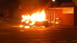 Car on fire in Wilder Street, St Pauls, Bristol