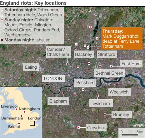 BBC map showing areas of London affected by rioting