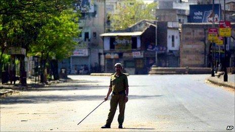 Curfew in Ahmadabad in India in 2002