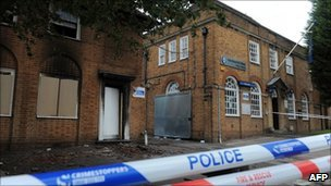 Damage to a police station in Handsworth, Birmingham