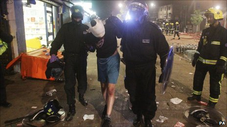Person being arrested after rioting in Tottenham on Sunday