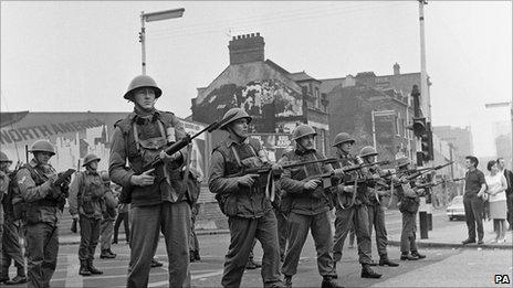 British soldiers in Belfast in 1969 during rioting