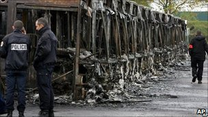 Wreckages of some of the 27 city buses burned in Trappes, West of Paris, November 2005