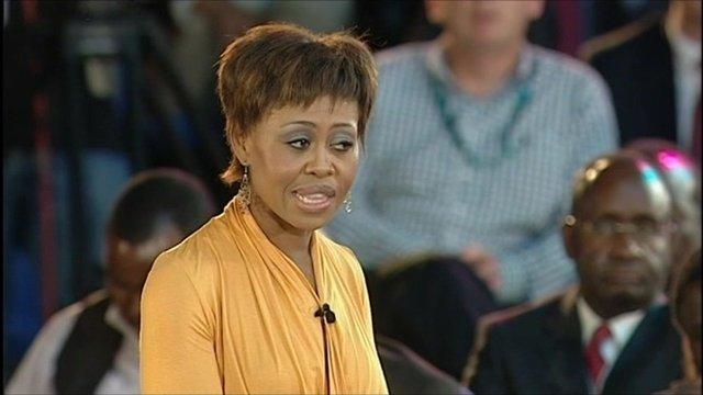 Redi Tlhabi at the BBC World Debate in Zambia