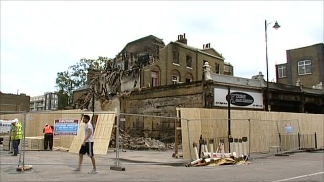 Building damaged by fire in the London riots
