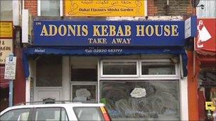 Siop bwyd cyflym Adonis Kebab House