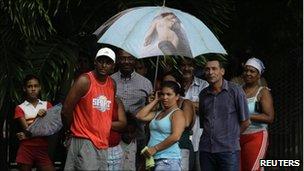 Onlookers at Havana registry office