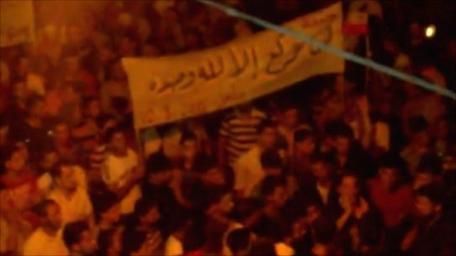 Footage purportedly showing demonstrations in Latakia