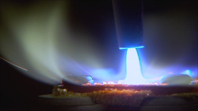 An acetylene torch being used to produce diamonds