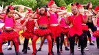 Independent Street Troupe perform during the Nottingham Caribbean Carnival parade from the city centre to the Forest Recreation Ground on 14 August 2011