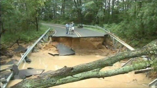Bridge destroyed by rain in New Jersey