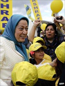 Maryam Rajavi with supporters in Switzerland