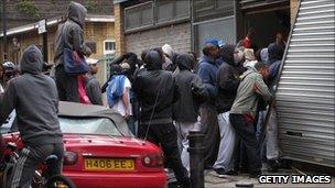 Looters in Hackney, east London