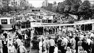 A barricade of trams in Moscow on 21 August, 1991