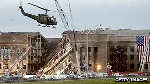 Part of the outer wall of the Pentagon collapsed after Flight 77 crashed into it