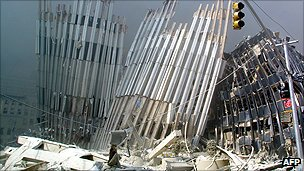 Remains of World Trade Center buildings after the attacks on 11 September 2001
