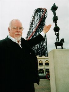 """Sir Peter Blake with his """"Life as a Circus"""" artwork in Blackpool"""