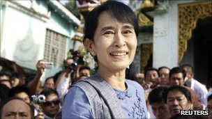 Aung San Suu Kyi, pictured in Bago on 14 August 2011