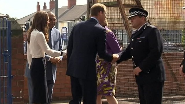 The Duke and Duchess of Cambridge with Chris Sims, the Chief Constable of West Midlands Police
