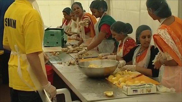 Preparing food at the Janmashtami festival