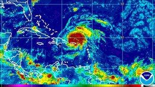 Hurricane Irene over Puerto Rico, NOAA picture 22 August 2011