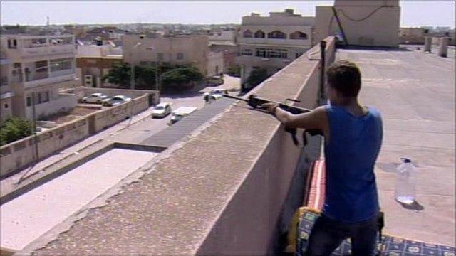 Rebel fighter in Tripoli