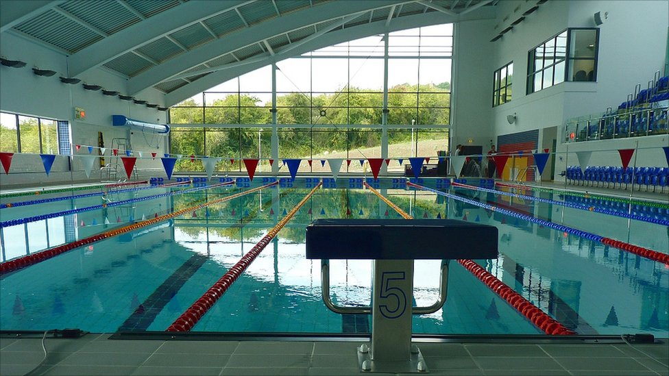 Bbc news doors open at matlock 39 s new 12m arc leisure centre for Open door swimming pool london