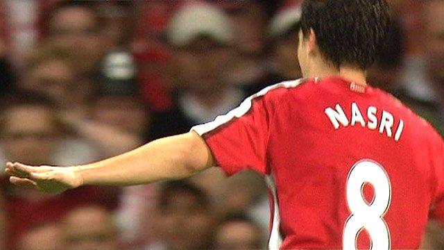 Samir Nasri scores for Arsenal in 2008