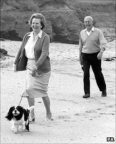 Margaret Thatcher and husband Denis on holiday in Cornwall in 1986
