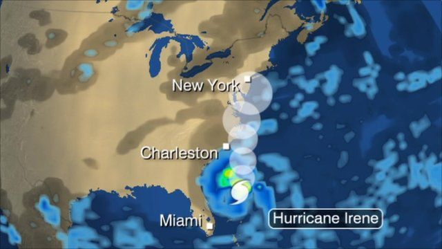 An image predicting that shows the predicted movements of Hurricane Irene