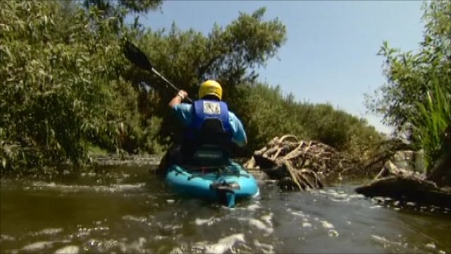 Canoeist on LA river
