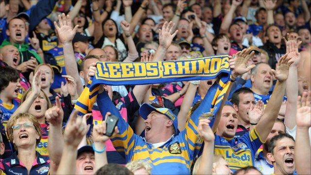 Leeds Rhinos fans celebrate their semi-final win