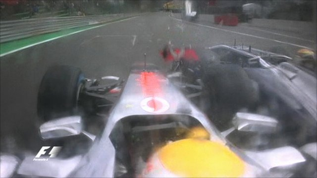 Hamilton and Maldonado collide
