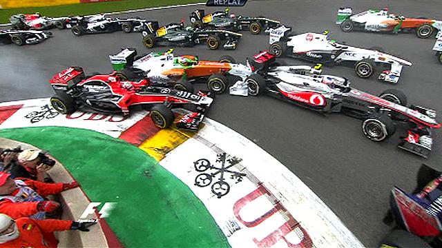 Crash chaos at start of Belgium GP
