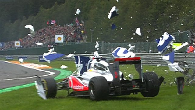 McLaren's Lewis Hamilton crashes at Spa