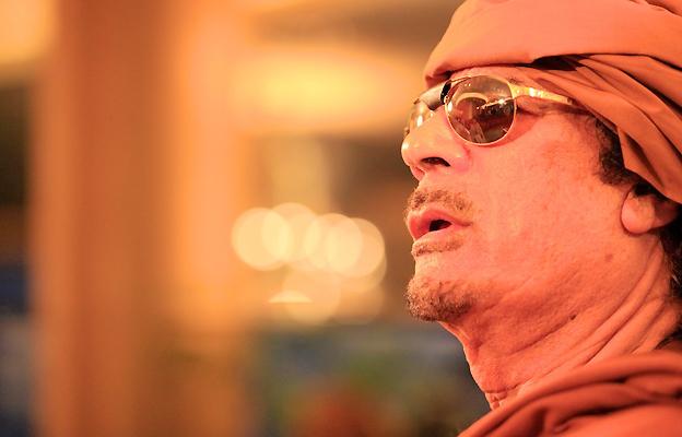 Col Gaddafi at a seaside restaurant in Tripoli, 1 March