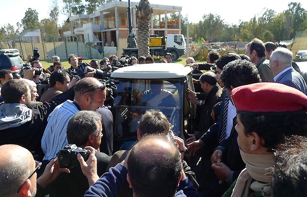Col Gaddafi in his buggy, 2 March
