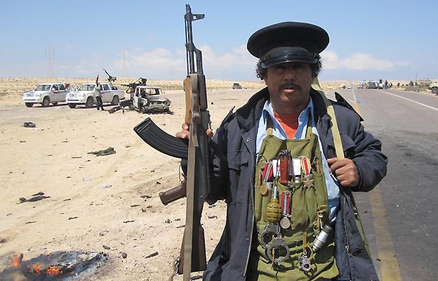 Rebel fighter near Ajdabiya, 5 April