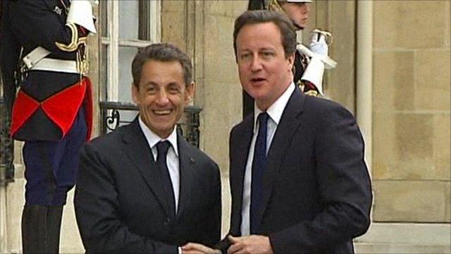 France's President Sarkozy with British Prime Minister Cameron