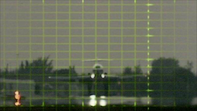 Plane landing graphic