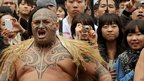"Maori warrior performs a ""haka"" dance in Auckland, New Zealand, ahead of rugby World Cup"