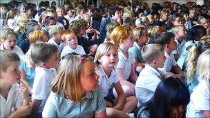 Children at Mile Oak Primary School near Brighton