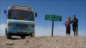 The Biotruck at Death Valley, California with Christina Ammon and Andy Pag