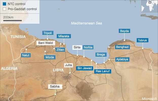 Map of pro-Gaddafi towns