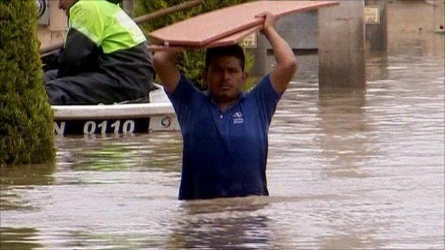 Man saving his belongings