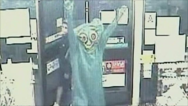 Robber dressed as cartoon character Gumby