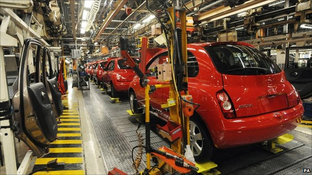 production line of red Nissan Micra cars