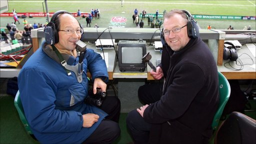 Alastair Hignell (r) with Iain Robertson in the Twickenham commentary box